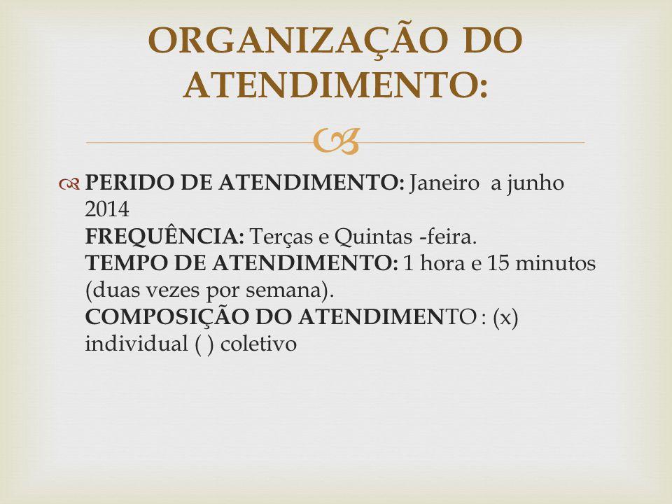 ORGANIZAÇÃO DO ATENDIMENTO: