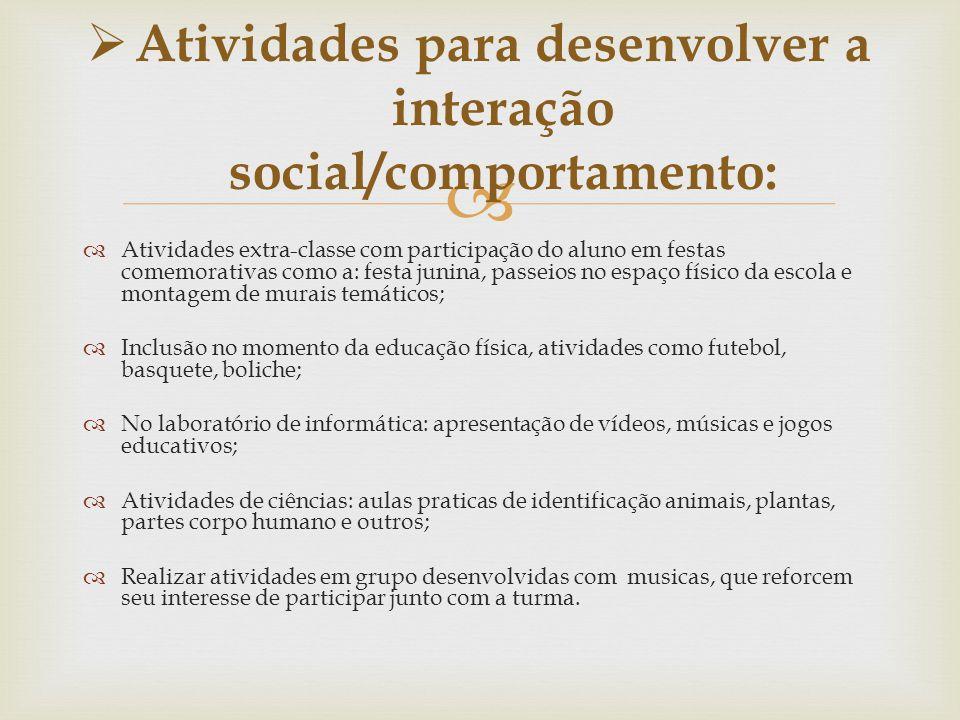 Atividades para desenvolver a interação social/comportamento: