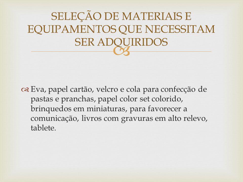 SELEÇÃO DE MATERIAIS E EQUIPAMENTOS QUE NECESSITAM SER ADQUIRIDOS
