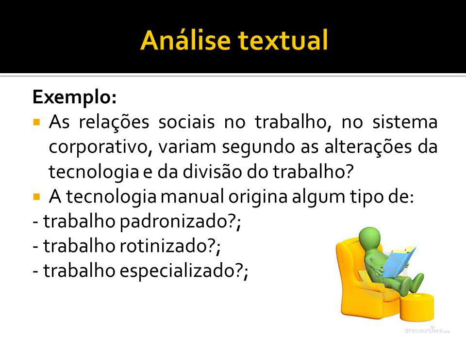 Análise textual Exemplo: