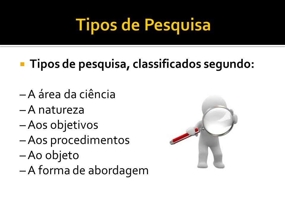 Tipos de Pesquisa Tipos de pesquisa, classificados segundo: