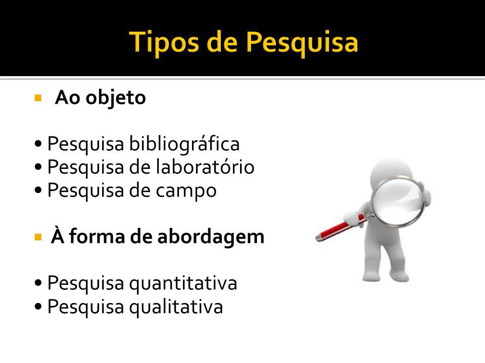 Tipos de Pesquisa Ao objeto • Pesquisa bibliográfica