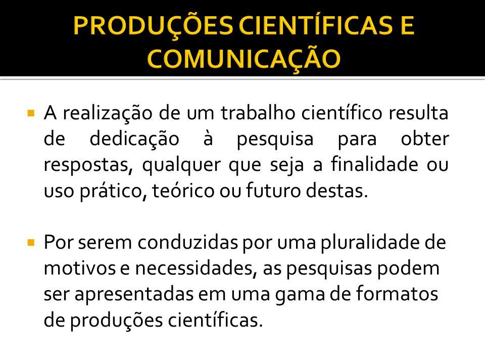 PRODUÇÕES CIENTÍFICAS E COMUNICAÇÃO