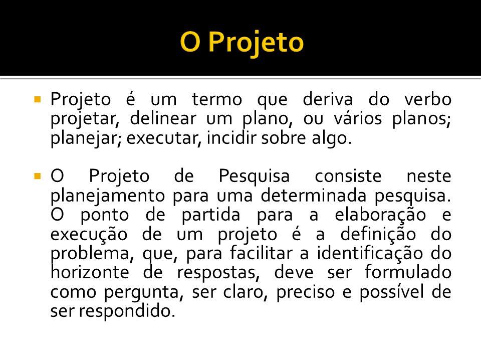 O Projeto Projeto é um termo que deriva do verbo projetar, delinear um plano, ou vários planos; planejar; executar, incidir sobre algo.