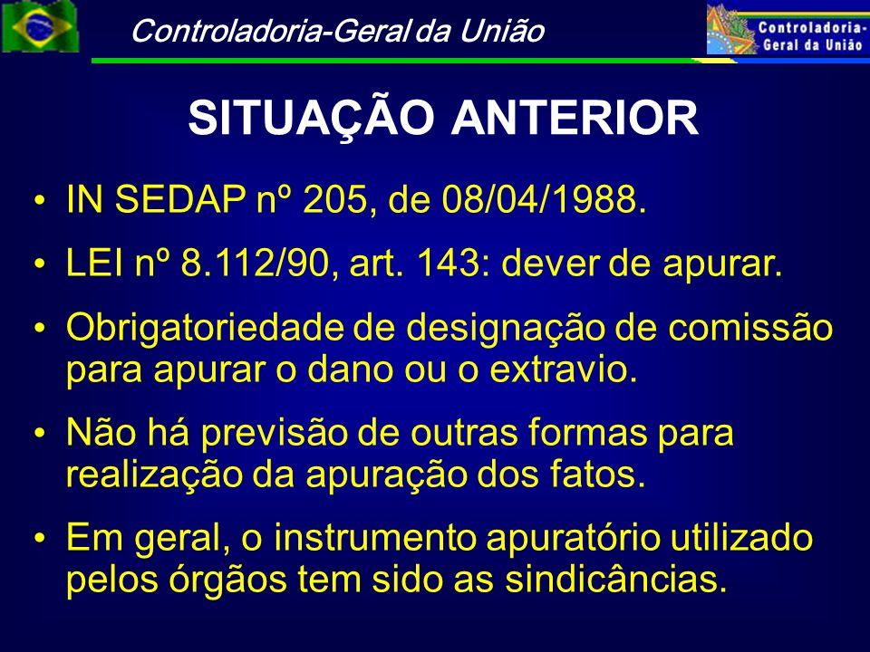 SITUAÇÃO ANTERIOR IN SEDAP nº 205, de 08/04/1988.