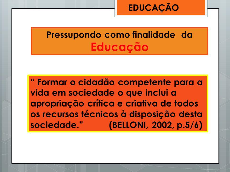 Pressupondo como finalidade da Educação