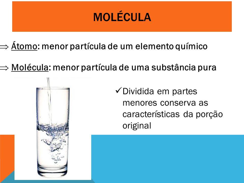 Molécula Átomo: menor partícula de um elemento químico