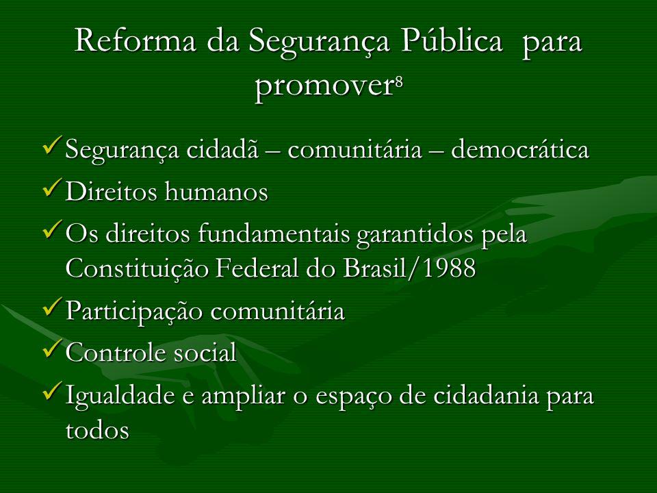 Reforma da Segurança Pública para promover8