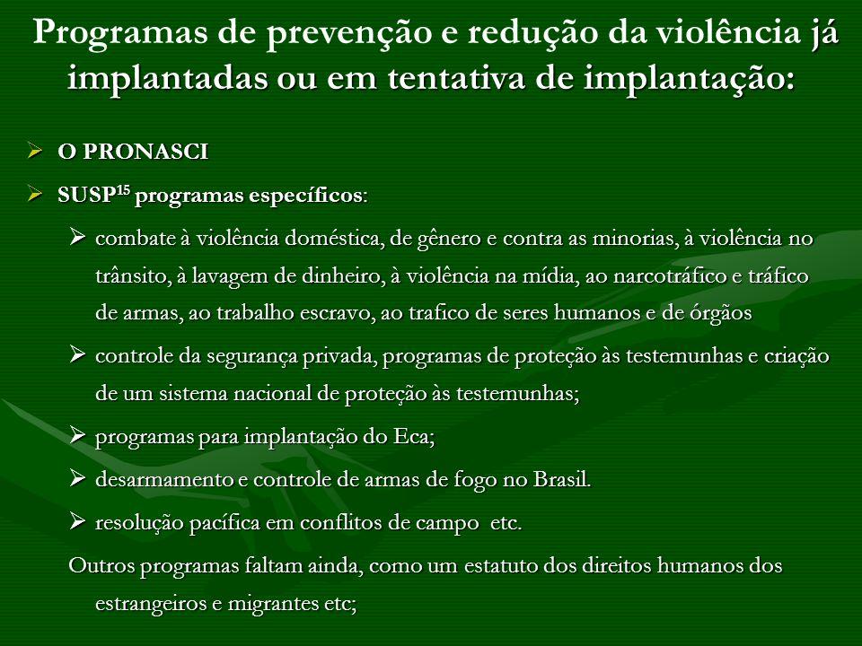Programas de prevenção e redução da violência já implantadas ou em tentativa de implantação: