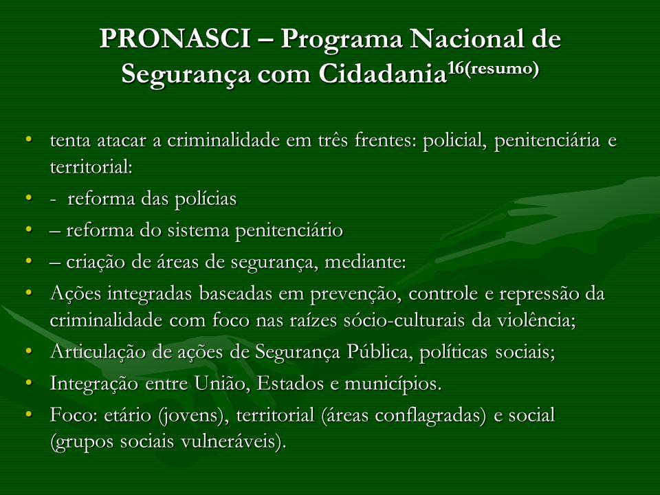 PRONASCI – Programa Nacional de Segurança com Cidadania16(resumo)