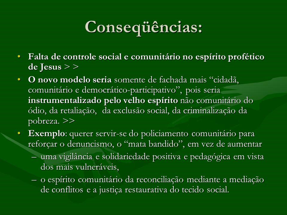 Conseqüências: Falta de controle social e comunitário no espírito profético de Jesus > >