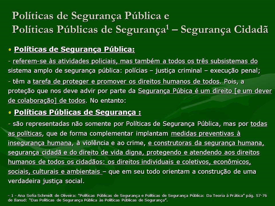 Políticas de Segurança Pública e Políticas Públicas de Segurança1 – Segurança Cidadã