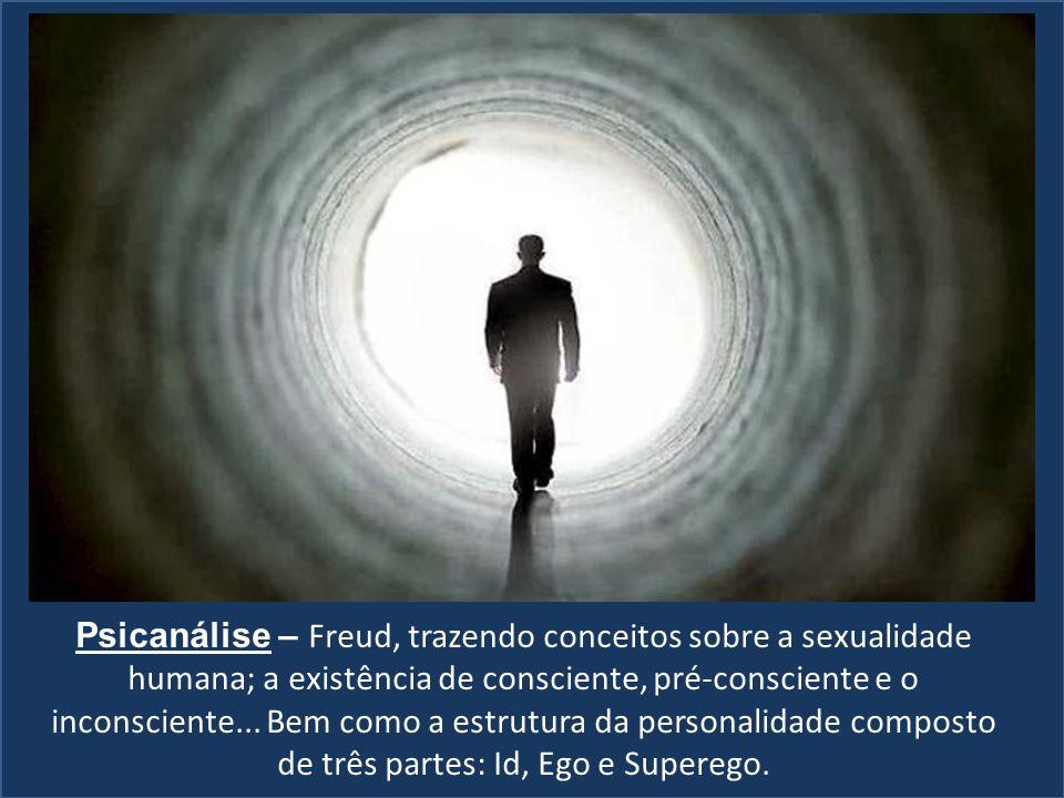 Psicanálise – Freud, trazendo conceitos sobre a sexualidade humana; a existência de consciente, pré-consciente e o inconsciente...