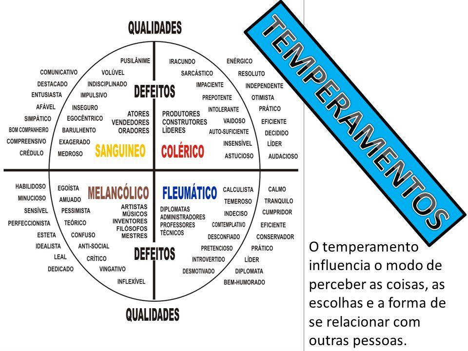 TEMPERAMENTOS O temperamento influencia o modo de perceber as coisas, as escolhas e a forma de se relacionar com outras pessoas.