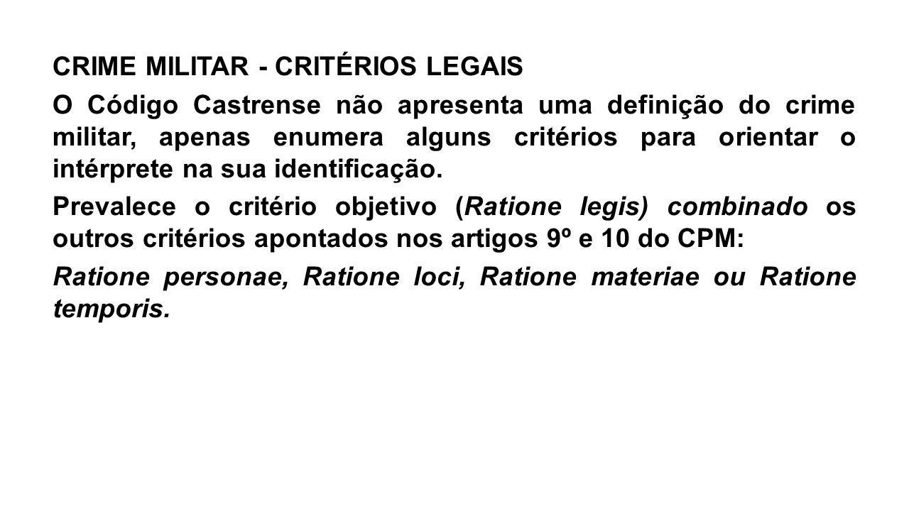 CRIME MILITAR - CRITÉRIOS LEGAIS O Código Castrense não apresenta uma definição do crime militar, apenas enumera alguns critérios para orientar o intérprete na sua identificação.