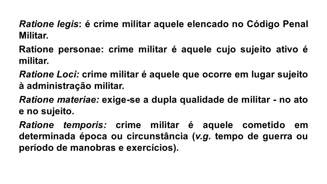 Ratione legis: é crime militar aquele elencado no Código Penal Militar