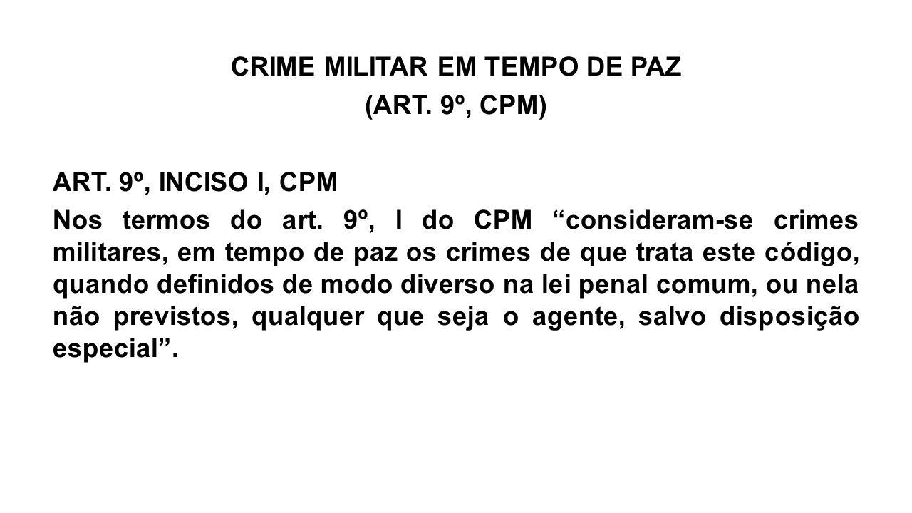 CRIME MILITAR EM TEMPO DE PAZ (ART. 9º, CPM) ART
