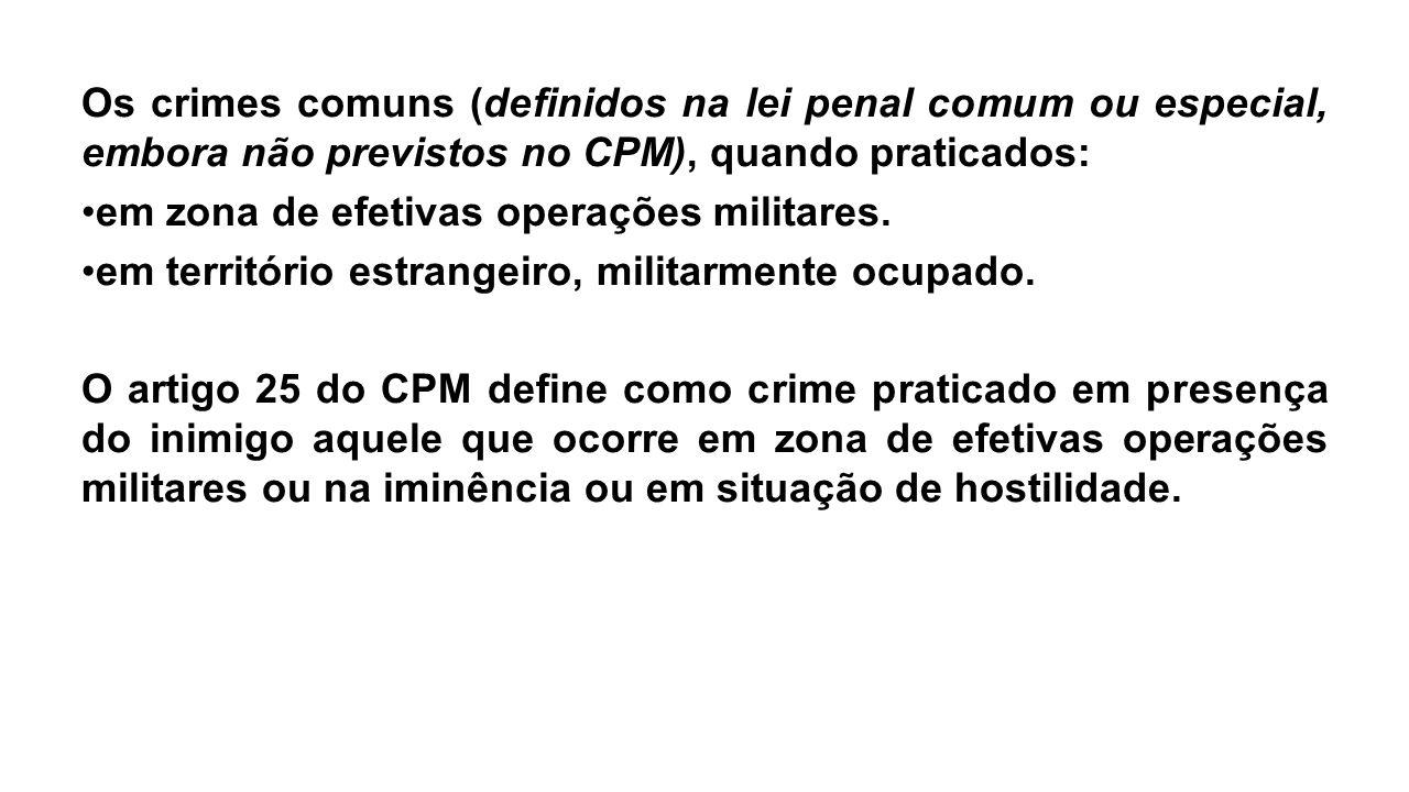 Os crimes comuns (definidos na lei penal comum ou especial, embora não previstos no CPM), quando praticados: