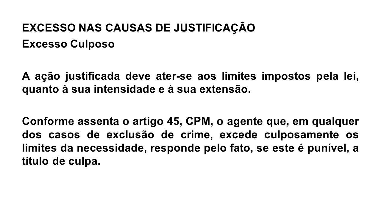 EXCESSO NAS CAUSAS DE JUSTIFICAÇÃO Excesso Culposo A ação justificada deve ater-se aos limites impostos pela lei, quanto à sua intensidade e à sua extensão.