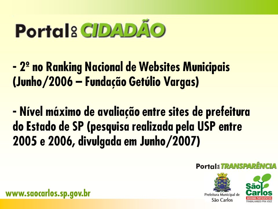 2º no Ranking Nacional de Websites Municipais