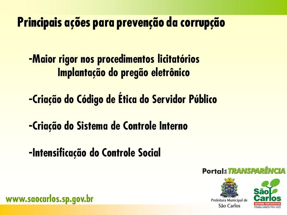 Principais ações para prevenção da corrupção