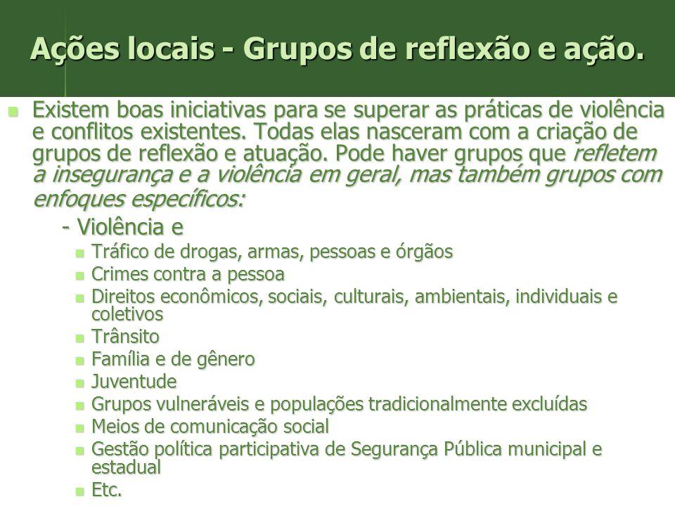 Ações locais - Grupos de reflexão e ação.
