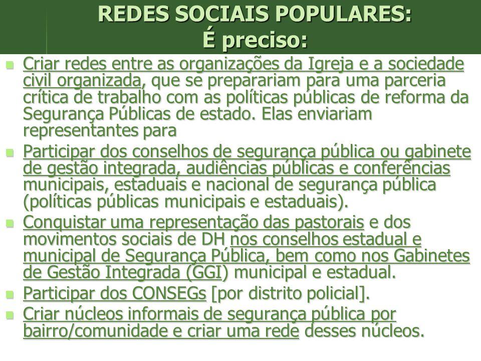 REDES SOCIAIS POPULARES: É preciso: