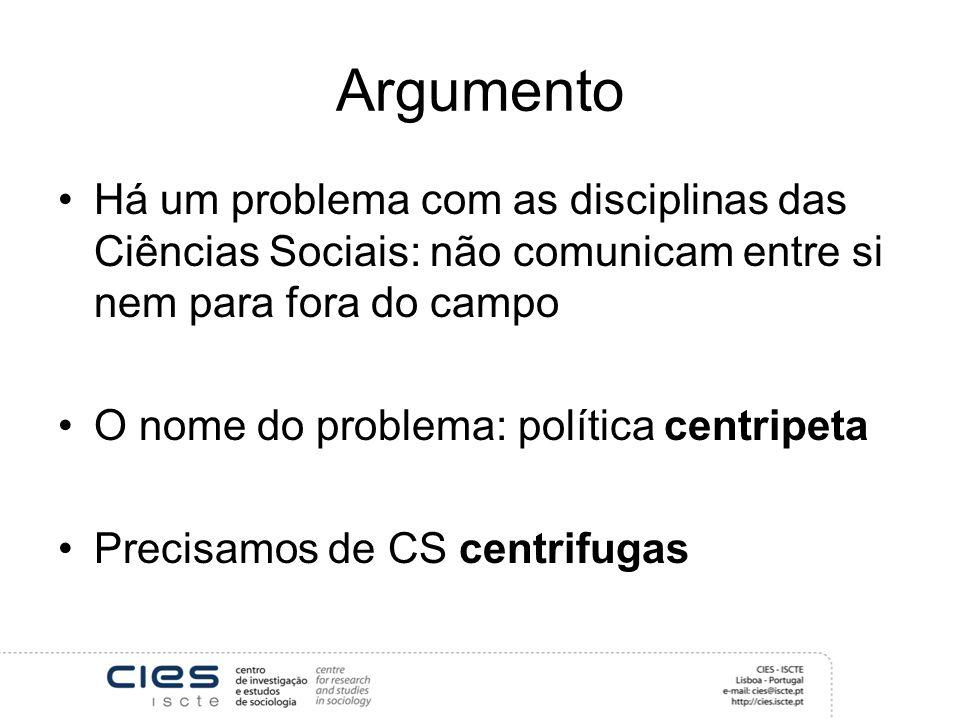 Argumento Há um problema com as disciplinas das Ciências Sociais: não comunicam entre si nem para fora do campo.