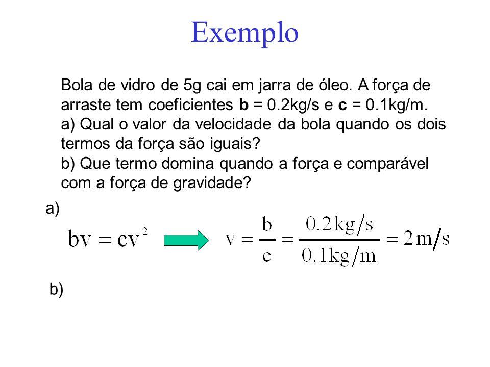 Exemplo Bola de vidro de 5g cai em jarra de óleo. A força de arraste tem coeficientes b = 0.2kg/s e c = 0.1kg/m.