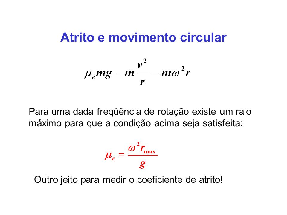Atrito e movimento circular