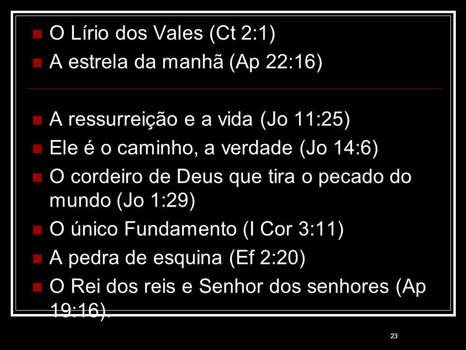 A estrela da manhã (Ap 22:16) A ressurreição e a vida (Jo 11:25)