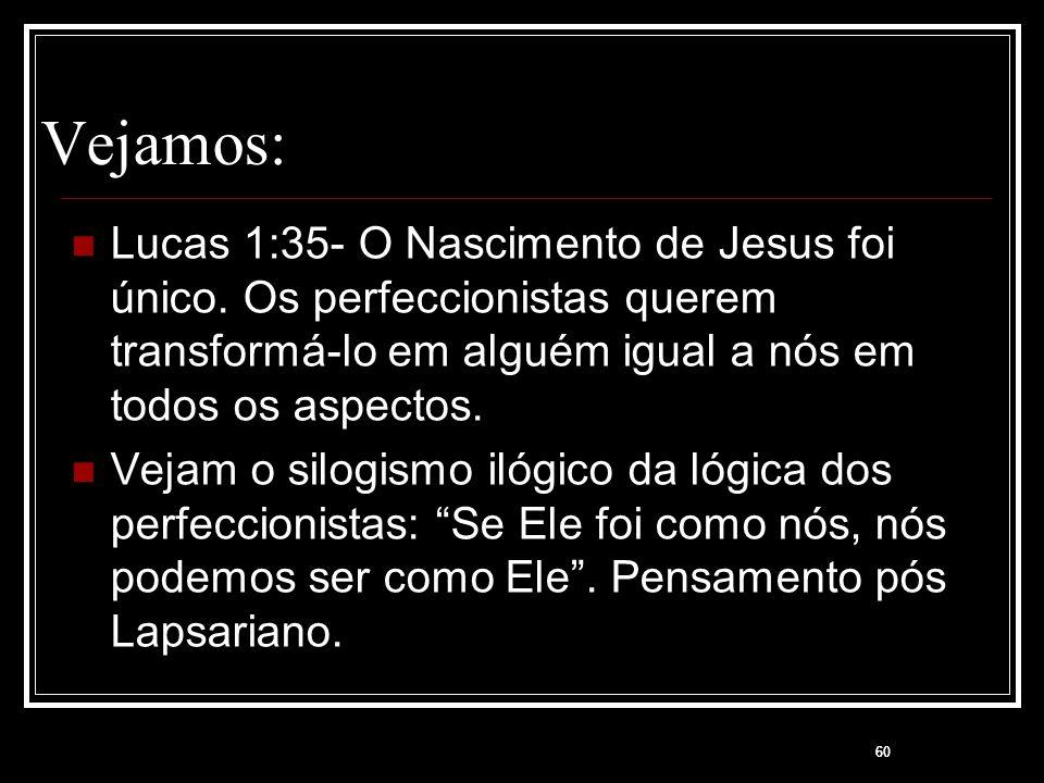 Vejamos: Lucas 1:35- O Nascimento de Jesus foi único. Os perfeccionistas querem transformá-lo em alguém igual a nós em todos os aspectos.