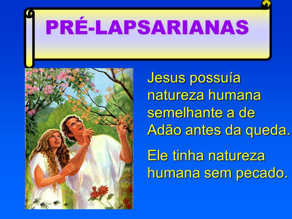PRÉ-LAPSARIANAS Jesus possuía natureza humana semelhante a de Adão antes da queda.