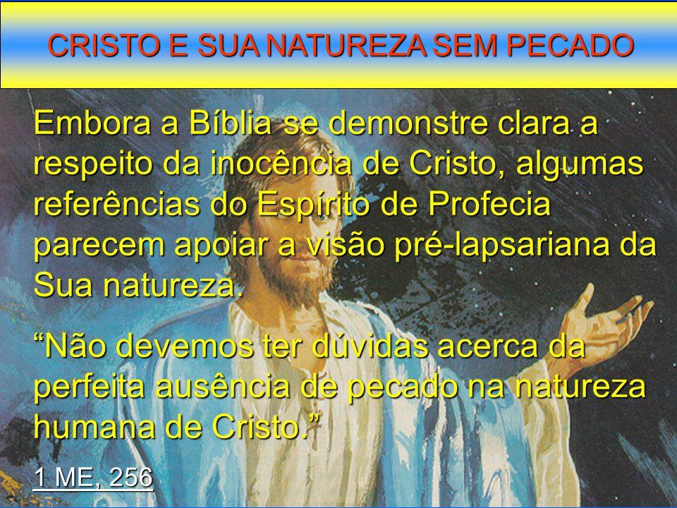 CRISTO E SUA NATUREZA SEM PECADO