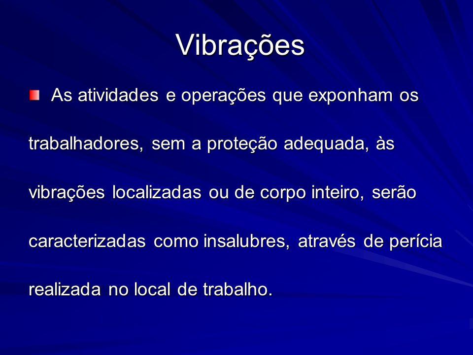 Vibrações As atividades e operações que exponham os
