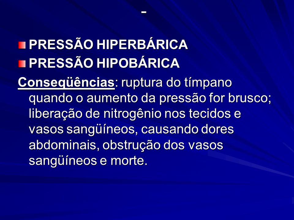 - PRESSÃO HIPERBÁRICA PRESSÃO HIPOBÁRICA