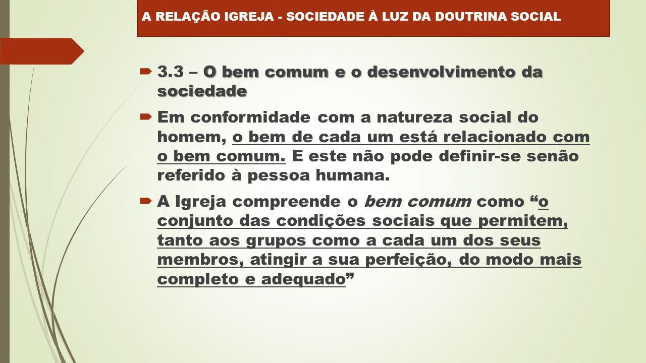 3.3 – O bem comum e o desenvolvimento da sociedade