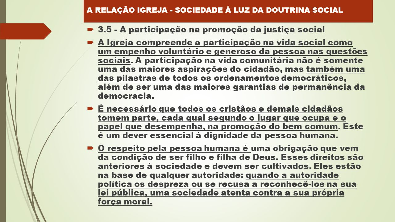 3.5 - A participação na promoção da justiça social