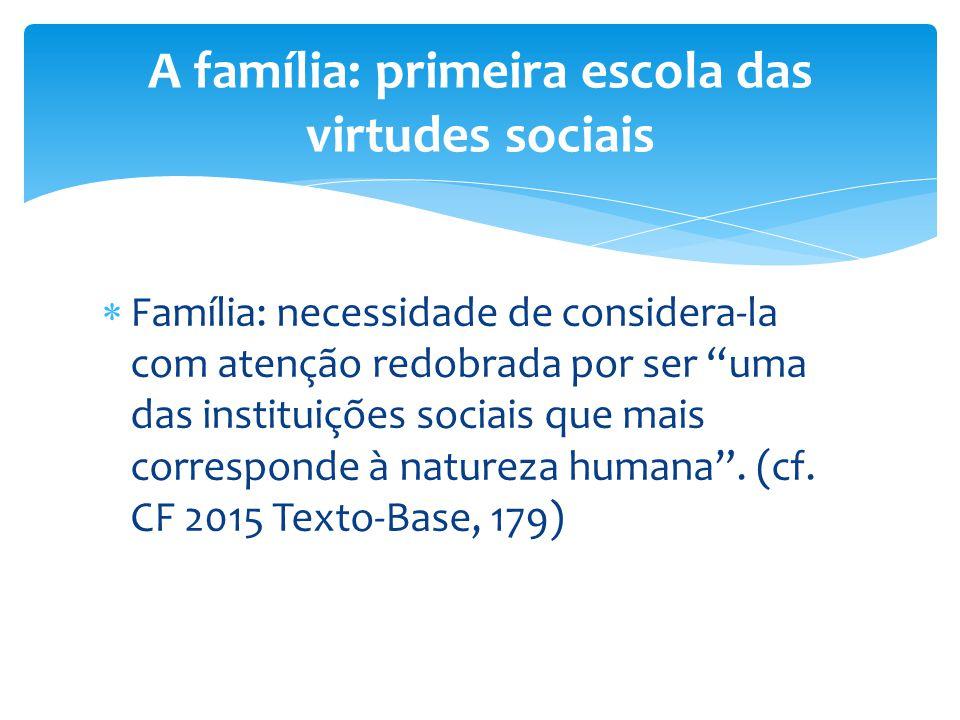 A família: primeira escola das virtudes sociais