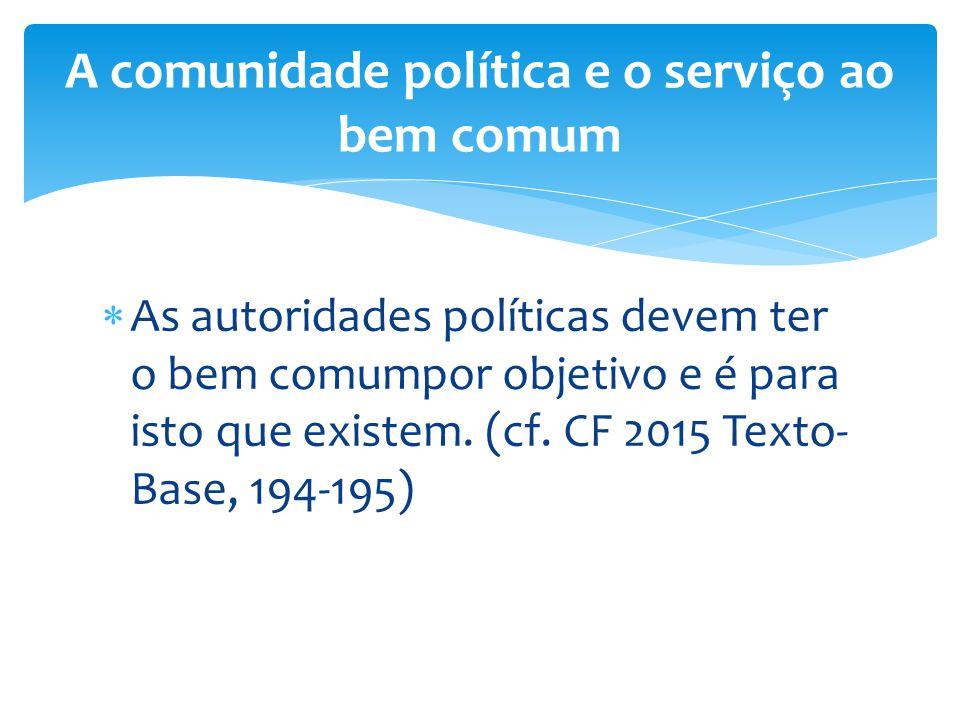 A comunidade política e o serviço ao bem comum