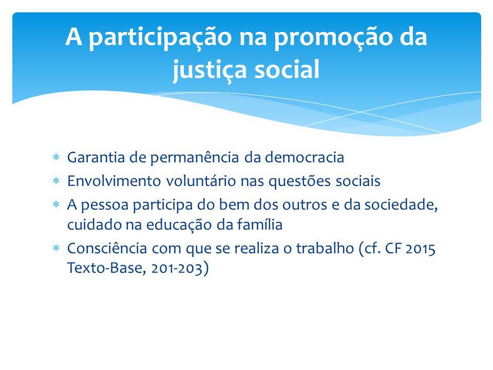 A participação na promoção da justiça social