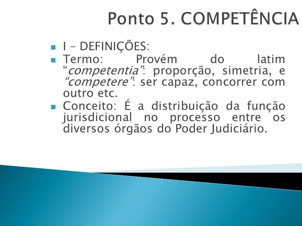 Ponto 5. COMPETÊNCIA I – DEFINIÇÕES: