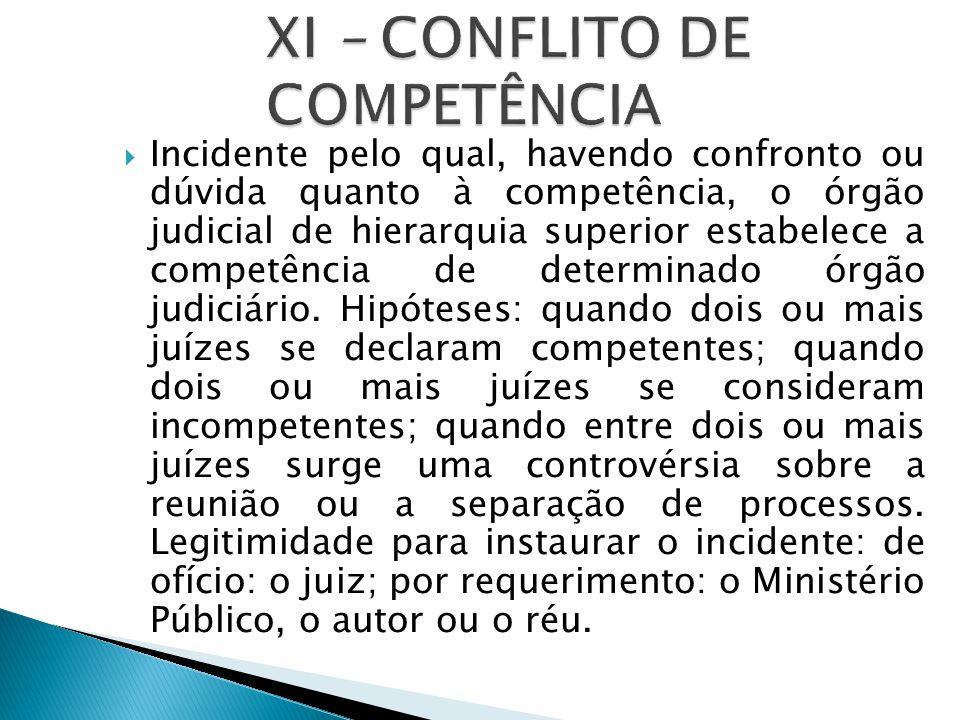 XI – CONFLITO DE COMPETÊNCIA