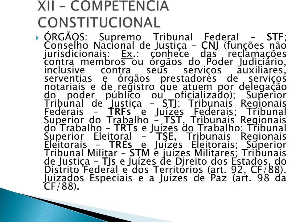 XII – COMPETÊNCIA CONSTITUCIONAL