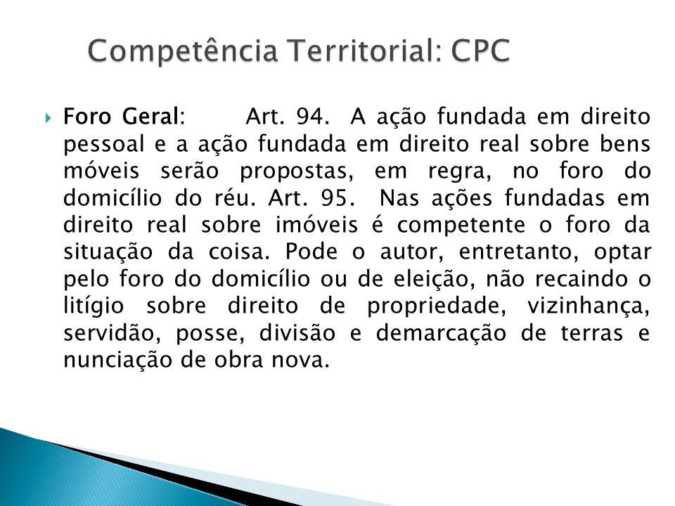 Competência Territorial: CPC