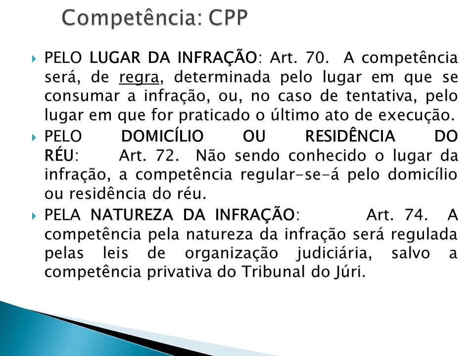 Competência: CPP