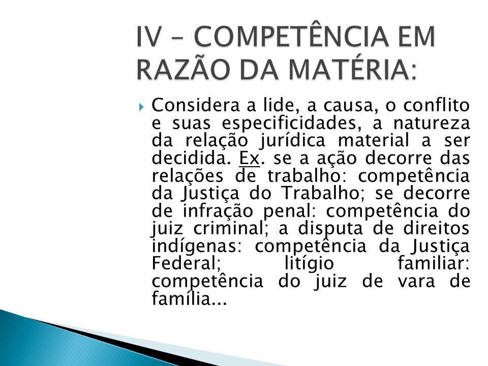 IV – COMPETÊNCIA EM RAZÃO DA MATÉRIA: