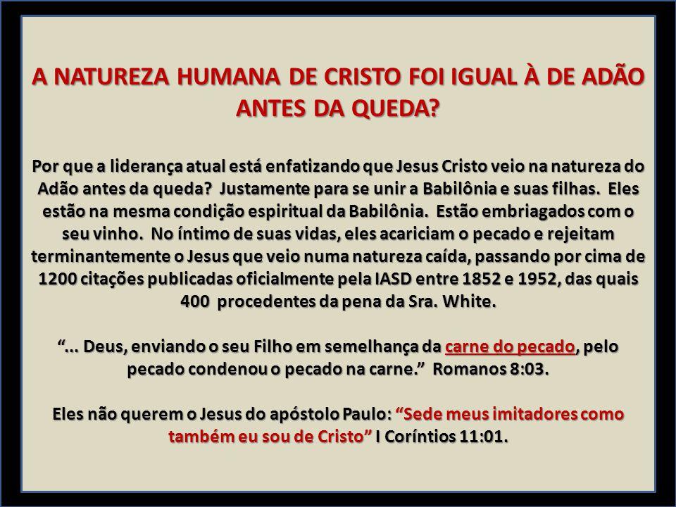 A NATUREZA HUMANA DE CRISTO FOI IGUAL À DE ADÃO ANTES DA QUEDA