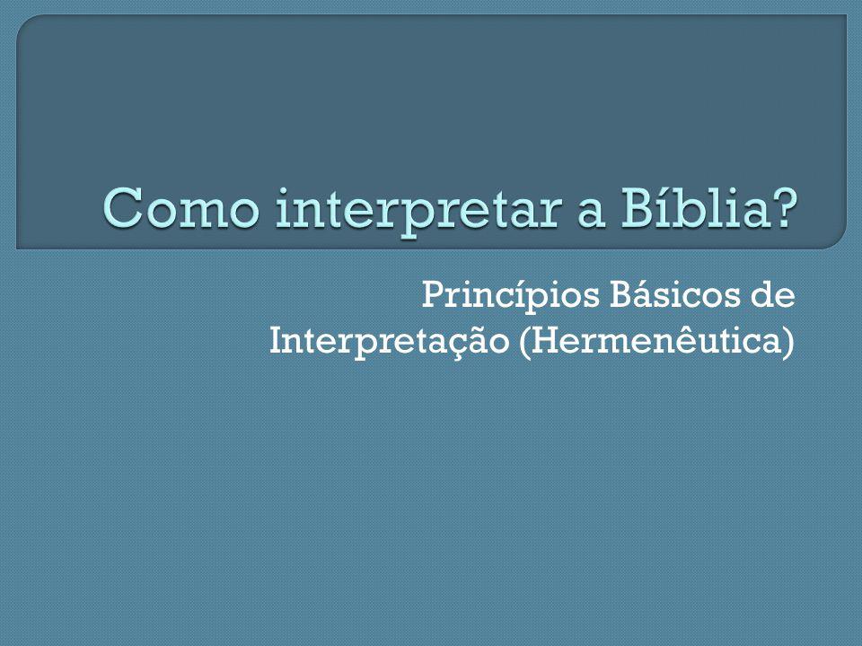 Como interpretar a Bíblia
