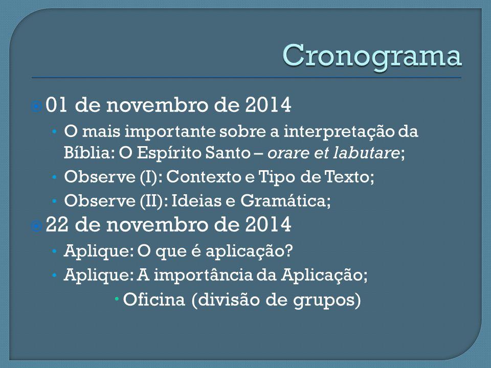 Cronograma 01 de novembro de 2014 22 de novembro de 2014